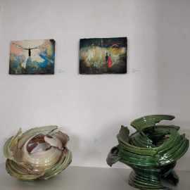 Fainómenon, Karl Fulle Keramik,  Andrea Damp Malerei, Galerie Brennwald Kiel 2020